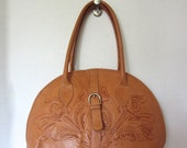 Force Ten Tooled Leather Large Purse, Hand Made, Bowling Bag Style