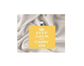 Scrabble Tile Pendant Necklace Keep Calm and Carry On