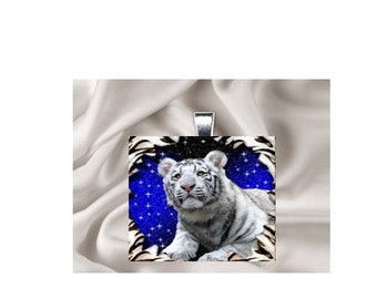 Scrabble Tile Pendant Necklace White Tiger