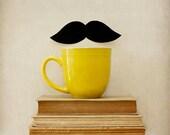 Mustache Photograph - Mr. 'Stache - Surreal Photography -Mustard Yellow Hipster Steampunk Home Decor  - Fine Art Photo