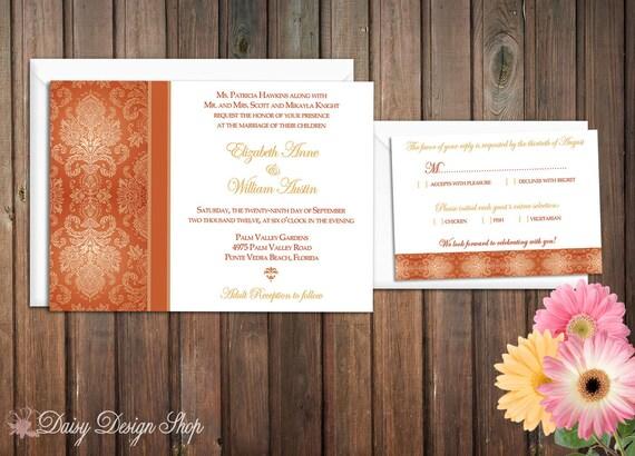 Wedding Invitation - Damask Border in Orange - Invitation and RSVP Card with Envelopes