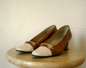 FREE USA SHIPPING / Vintage Shoes / 60's Spanish Made High Heels / Brown and Cream
