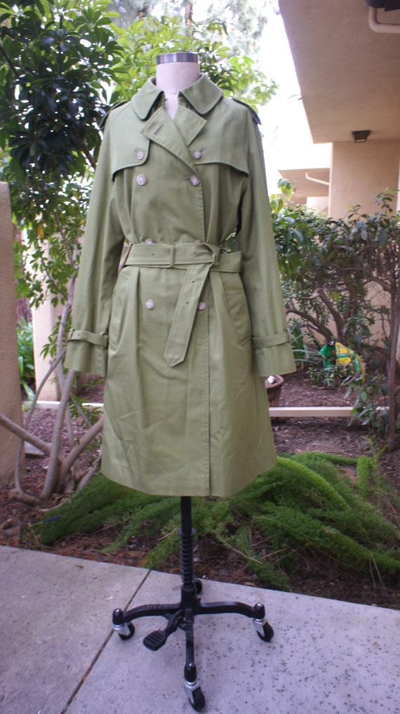 Items similar to Vintage Green Mackintosh Coat Women's ...