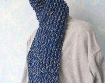 Winter scarf, handknit, royal blue