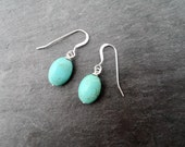 Turquoise Magnesite Gemstones on Sterling Silver Earhooks