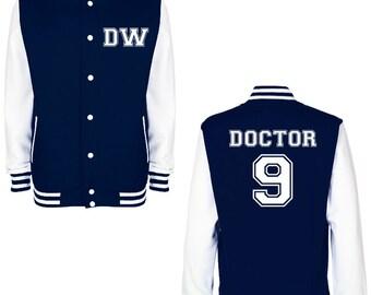 DW DOCTOR 9 Varsity Jacket - FREE Shipping - British Science Fiction (Sci Fi) Fan Geek Baseball Jacket