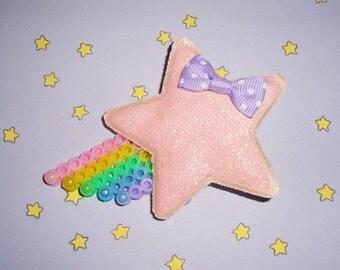 Decora Shooting Star Applique Beaded Rainbow Hair Clip