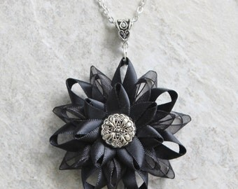 Black Necklace, Black Flower Pendant Necklace, Black Flower Necklace, Elegant Necklace, 16 inch Necklace, 22 inch Necklace, Dahlia Necklace
