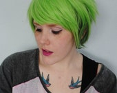 Green wig, Pixie short emo wig, cosplay wig, green scene wig, Hipster Unisex wig for Guys and Girls // Spearmint