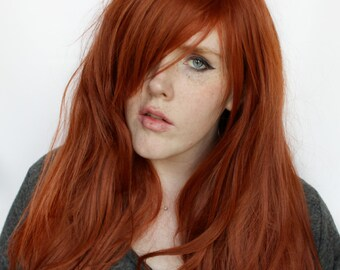 SALE Auburn wig | Long Red wig, Straight Auburn wig | Natural Boho wig, Scene wig, autumn fashion cosplay wig | Pretty Pumpkin