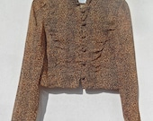 Vintage leopard print lightweight jacket, cropped animal print jacket, 80s, spring, beautiful buttons, stand up collar, rare
