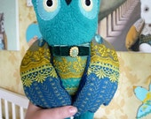 Carlos  Owl , soft art  creature  toy by  Wassupbrothers, turquoise owl, unique soft owl doll, textile sculpture, ooak handmade