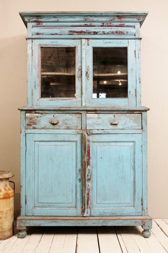 antique kitchen cupboard storage cabinet armoire indian blue