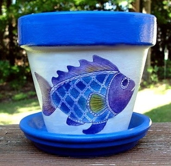 Purple and Blue Fish Flower Pot, 6 inch size