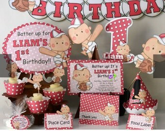 Baseball Baby Shower Decorations, Baseball First Birthday, Baseball 1st  Birthday, Invitations, Banner