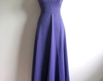 Vintage 1970s Maxi Dress Mary Hames Royal Purple Long Sleeveless Empire Waist Gown 12