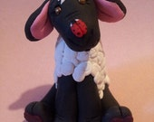 Easter Sheep Lamb with Lady Bug Spring Polymer Clay Figurine