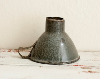 Vintage granitware funnel, vintage canning funnel, grey granitware funnel