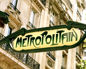 Paris Art Print - Metropolitain Photograph -  French Metro Sign - Paris Decor - Green Yellow - Travel Photography  Classic Parisian Image