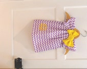 Monogrammed Lavender Purple Chevron Dress with Yellow Embroidery Bow 0-3 Month 3-6 Month 6-9 Month 12 Month 18 Month 2T 3T 4T 5T 6 School