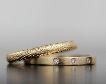 gold wedding band set, wedding ring set, stacking wedding rings, diamond engagement ring, women's wedding band, diamond ring, sand and stone
