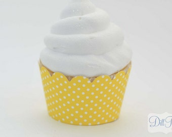 Yellow and White Polka dot Cupcake Wrappers -  Set of 24 - Standard Size