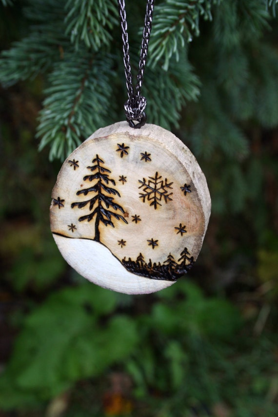 Winter Wonderland Handmade Driftwood Tree Ornament Wood