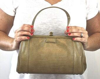 Vintage 60s Classic Handbag Faux Tan Lizard Purse Gold Clasp