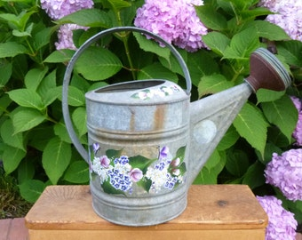 Hand Painted Vintage Metal Galvanized Watering Can Pink Roses White Daisies Blue Hydrangeas Butterflies