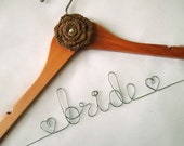 Personalized Rustic Bridal Hanger with Burlap Flower Decoration - Wedding Hanger, Wedding Name Hanger, Bridal Hanger, Wedding Dress Hanger