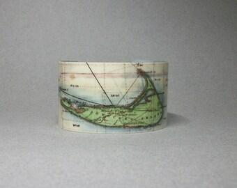 Nantucket Massachusetts Map Cuff Bracelet Unique Nautical Hostess City Gift for Men or Women