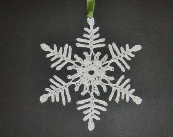 white thread-crocheted snowflake Christmas ornaments, your choice of 6 hanging loops. #OR006