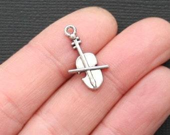 8 Cello Charms Antique  Silver Tone - SC3120
