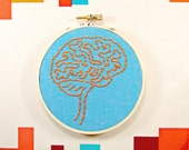40% off with Cyber Monday Coupon Code: Orange and Blue Brain Anatomy Hoop Art. Hand Embroidered.