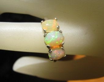 3 Stone Genuine Ethiopian Opal Ring Sterling Silver Fiery white orange red yellow green blue handmade 5 6 7 8 9 10 11 1/2 sizes fine jewelry