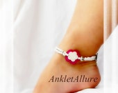 Beachy Feet Double Bloom Hibiscus Flower Anklet Beach Anklet Beach Wedding Heart Ankle Bracelet