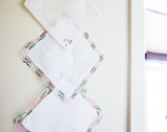 Three Handkerchiefs - Vintage Ladies Hanky Lot - Delicate Pastels - Crochet Trim Hankies - Dainty Accessories - Shabby Cottage Chic Decor