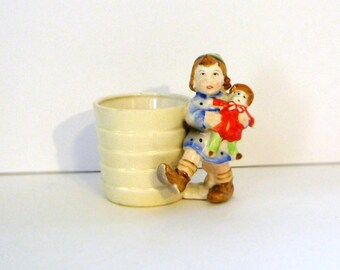 Vintage Small Ceramic Planter Little Girl with Doll, Marked Japan Cottage Chic Circa 1930s