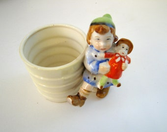 Vintage Likely 1930s Small Ceramic Tiered Planter Featuring Cute Little Girl with Doll, Marked Japan Cottage Chic