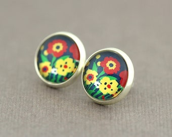 fake plugs, watercolor floral print stud earrings, bohemian