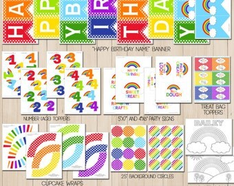 Rainbow Birthday | Rainbow Party | Rainbow Party Decorations | Rainbow Printable | Rainbow Banner | Art Party | Amanda's Parties To Go