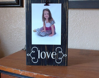 Painted Love Wood Photo Block | Wood Photo Holder | Easy to Change Frame | Picture Frame