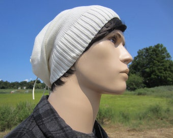 Tie Back Slouch Beanie Thick Knit Slouchy Beanie Hat Ivory Men's Leather Warm Winter White Hats A1281