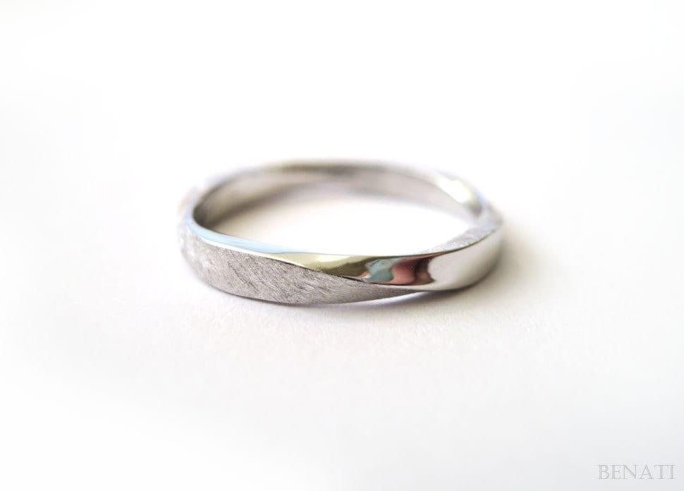 mobius wedding ring square profile mobius ring in 14k white