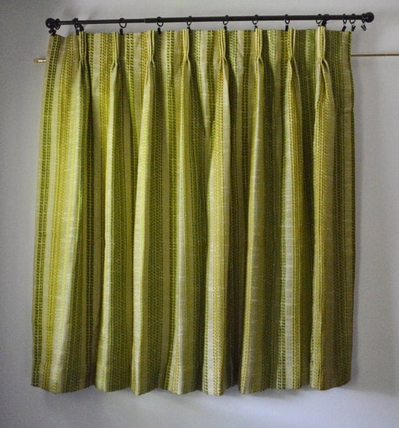 Vintage 70s Curtain Panels 1970s Green Sheer Window Curtains with ...