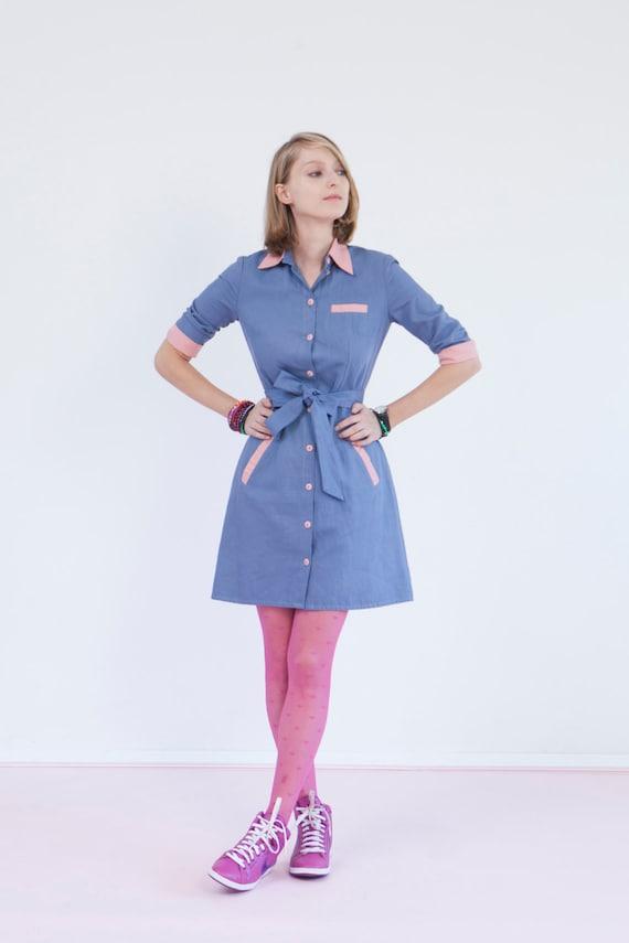 Retro Diner Uniform Retro Style Blue Diner Dress