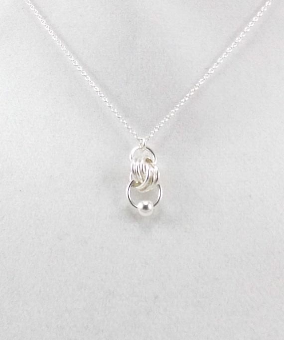 Simple Silver Infinity Knot Drop Pendant