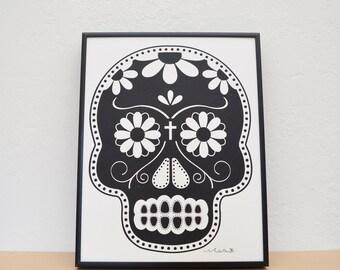 Dia De Los Muertos/Day of the Dead Skull - Black