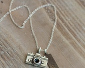 Camera Necklace - Hand Stamped Capture Life Photography Necklace - Silver Camera - Sterling Silver Chain