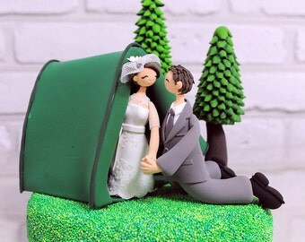 Custom Wedding Cake Topper - Outdoor Camping theme - gift decoration